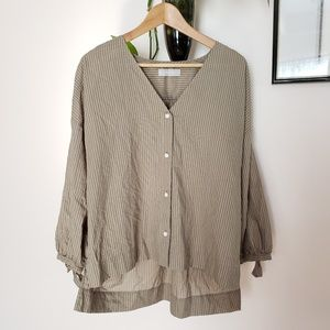 Everlane Olive Green stripe cotton Blouse sz 6